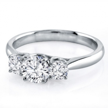 Certified Jessica 18K White Gold Diamond Engagement Ring 0.33CT